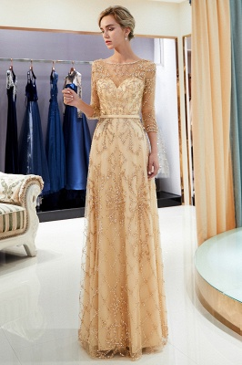A-line Illusion Neckline Long Beading Evening Gowns with Sleeves_23