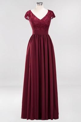 A-line Chiffon Lace V-Neck Sleeveless Floor-Length Bridesmaid Dresses with Ruffles_1