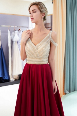 Burgundy A-line V-neck Sleeveless Crystal Beading Evening Dresses_6