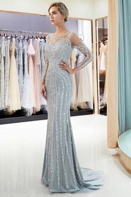 Mermaid Long Sleeves Sequined Pattern Evening Dresses_5
