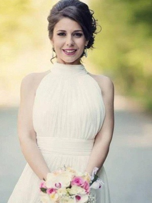 Floor Length Sexy Sleeveless Bridal Gowns | Cheap Halter Ruffles Tulle Wedding Dresses_7