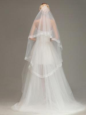 One Layer Cut Edge Wedding Veil Soft Tulle Bridal Veil_2