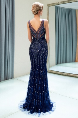 Mermaid Sleeveless V-neck Sequins Pattern Long Evening Gowns_3