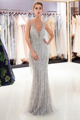 Deep V-neck Mermaid Sleeveless Tassel Beading Party Dresses_5