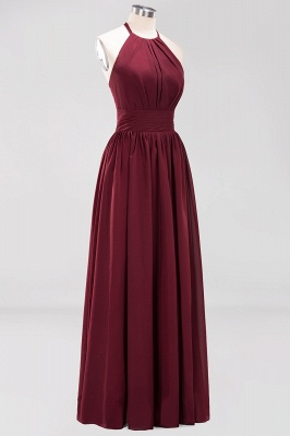 A-line Chiffon Appliques Halter Sleeveless Floor-Length Bridesmaid Dresses with Ruffles_9