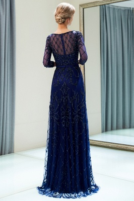 A-line Illusion Neckline Long Beading Evening Gowns with Sleeves_3