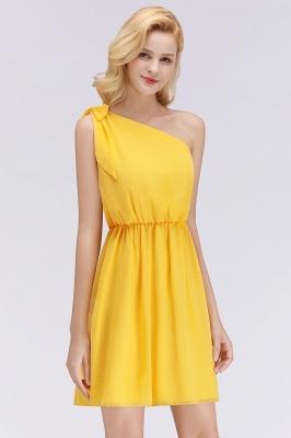 Elegant A-Line Chiffon One-Shoulder Sleeveless Ruffles Short Bridesmaid Dresses with Bow_7