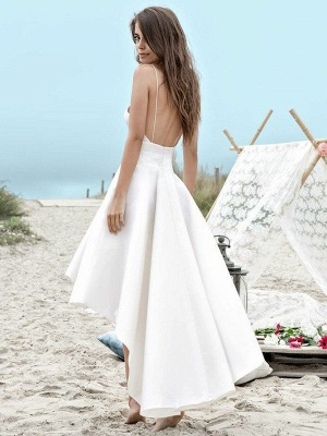 Sleeveless Sexy Asymmetrical Bridal Gowns   Cheap Satin Spaghetti Straps Ruched Wedding Dresses_3