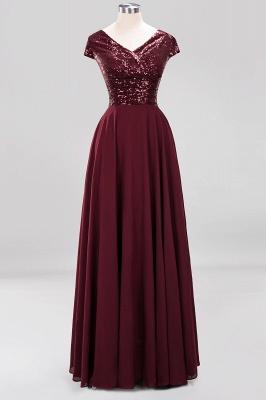 Elegant A-Line Burgundy Chiffon Sequined V-Neck Sleeveless Ruffles Floor-Length Bridesmaid Dresses_9