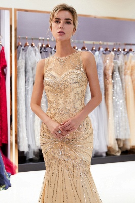 Glamorous Beading Mermaid Sleeveless Long Evening Dresses_1