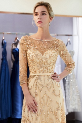 A-line Illusion Neckline Long Beading Evening Gowns with Sleeves_27