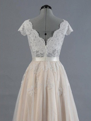 Sweep Train Sexy Sleeveless Bridal Gowns | Cheap Appliques Lace V-neck Wedding Dresses_5