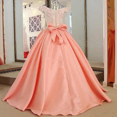 Lace Off-The-Shoulder Bow Ball Gown Sweep Train Prom Dresses_1