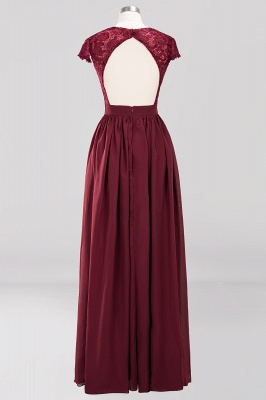 A-line Chiffon Lace V-Neck Sleeveless Floor-Length Bridesmaid Dresses with Ruffles_2