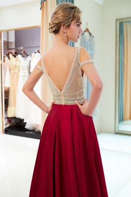 Burgundy A-line V-neck Sleeveless Crystal Beading Evening Dresses_7