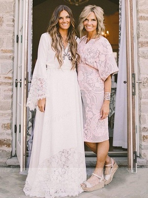 Floor Length Lace Sexy Bridal Gowns Cheap | Ribbon V-neck Chiffon Long Sleeve Wedding Dresses_6
