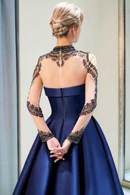 Beading Neckline A-line Long Sleeves Satin Evening Gowns_7