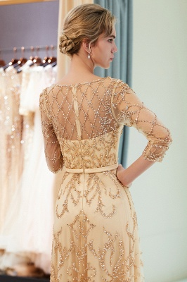 A-line Illusion Neckline Long Beading Evening Gowns with Sleeves_24
