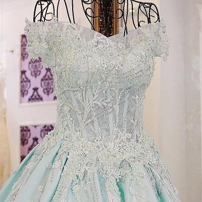 Sequins Off-The-Shoulder Applique Ball Gown Chapel Train Evening Dresses_1