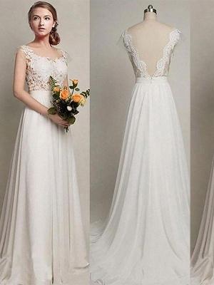Elegant Sweep Train A-Line Bridal Gowns | Sleeveless Chiffon Wedding Dresses Cheap Online_1
