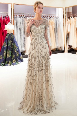 A-line Illusion Neckline Long Beading Evening Gowns with Sleeves_2