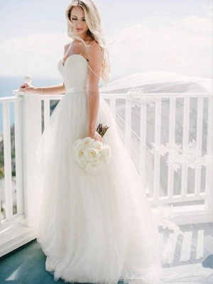 Sweep Train Ball Gown Wedding Dresses Cheap | Sleeveless Tulle Sweetheart Bridal Gowns Sexy_4