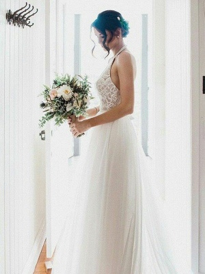 Sexy Lace Sleeveless Tulle Floor Length Bridal Gowns | Sexy Halter Wedding Dresses Cheap Online_5