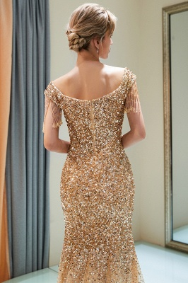 Off-the-shoulder V-neck Mermaid Floor Length Sequins Evening Dresses_13