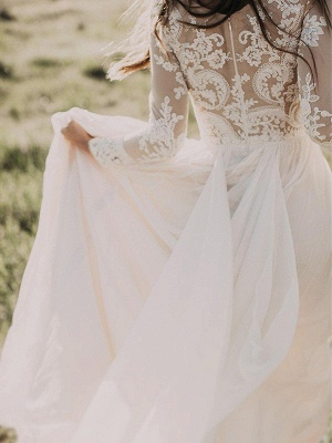 Long Sleeve Bridal Gowns Cheap Online   Floor Length Appliques Tulle Sexy Wedding Dresses_5