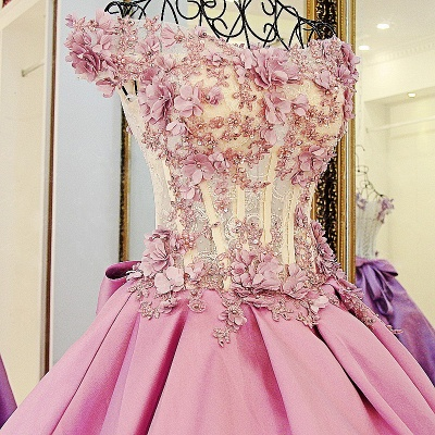 Lace Court Train A-Line Ball Gown Applique Bow Evening Dresses_1