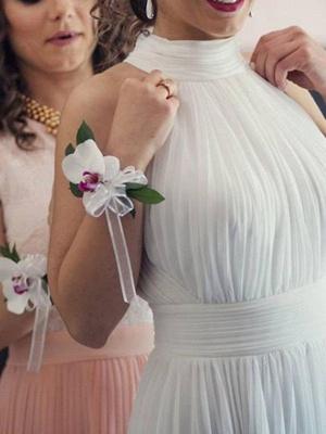Floor Length Sexy Sleeveless Bridal Gowns | Cheap Halter Ruffles Tulle Wedding Dresses_4