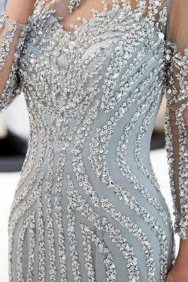 Mermaid Long Sleeves Sequined Pattern Evening Dresses_10