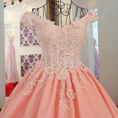 Lace Off-The-Shoulder Bow Ball Gown Sweep Train Prom Dresses_3