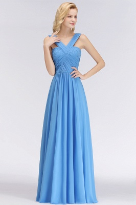 Elegant A-Line Chiffon Straps Sleeveless Ruffles Floor-Length Bridesmaid Dresses_3