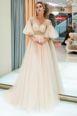 Floor Length A-line V-neck Beading Tulle Evening Gowns with Sleeves_6