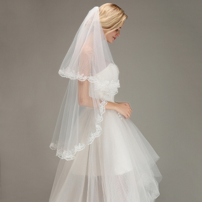 Two Layers Lace Edge Wedding Veil with Comb Soft Tulle Bridal Veil_5