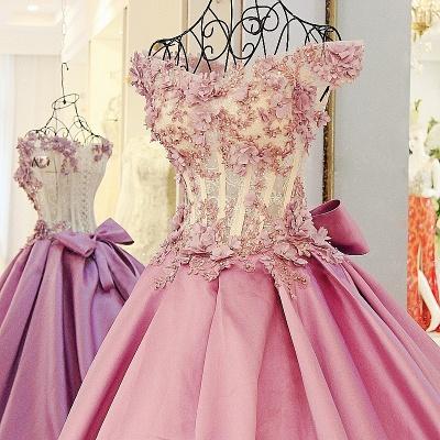 Lace Court Train A-Line Ball Gown Applique Bow Evening Dresses_4