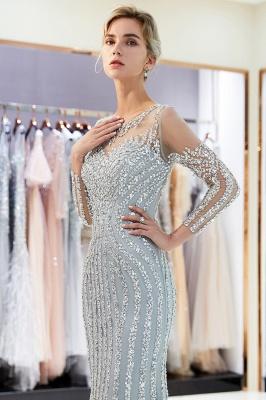 Mermaid Long Sleeves Sequined Pattern Evening Dresses_9