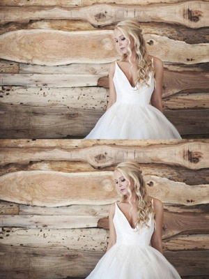 Spaghetti Straps Lace Organza Sexy Bridal Gowns | Cheap V-neck Sleeveless Court Train Wedding Dresses_3