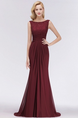 Elegant A-Line Burgundy Chiffon Lace Scoop Sleeveless Ruffles Floor-Length Bridesmaid Dresses_3