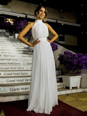 Floor Length Sexy Sleeveless Bridal Gowns | Cheap Halter Ruffles Tulle Wedding Dresses_6
