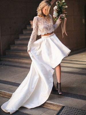 Two Piece Sexy Satin Long Sleeve Bridal Gowns | Cheap Lace Scoop Sweep Train Wedding Dresses_1
