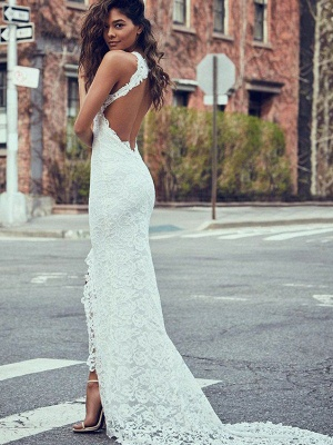 Lace Mermaid Cheap Bridal Gowns with Sweep Train | Sexy Sleeveless Halter Wedding Dresses_3