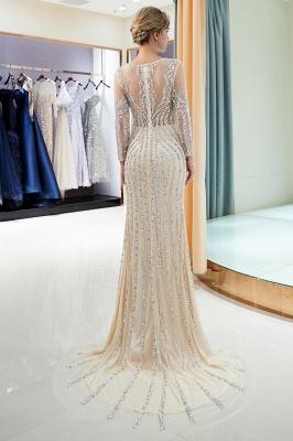 Mermaid Long Sleeves Sequined Pattern Evening Dresses_16