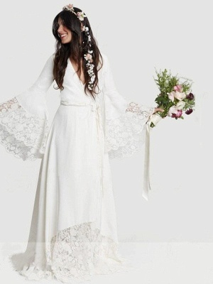 Floor Length Lace Sexy Bridal Gowns Cheap | Ribbon V-neck Chiffon Long Sleeve Wedding Dresses_3
