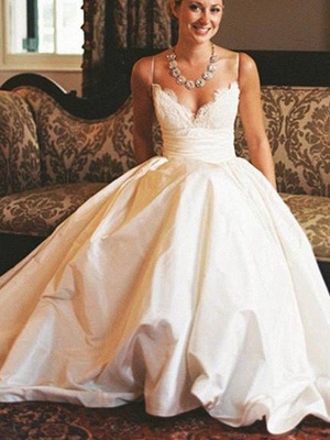 Sweep Train Ruched A-Line Satin Bridal Gowns Cheap | Sexy V-neck Sleeveless Wedding Dresses_4