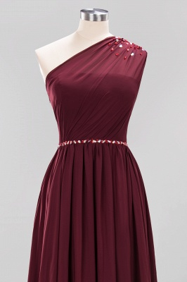 Elegant A-Line Burgundy Chiffon One-Shoulder Sleeveless Ruffles Floor-Length Bridesmaid Dresses with Beadings_17