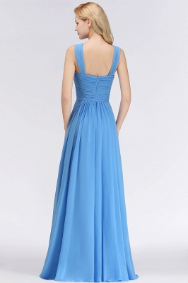 Elegant A-Line Chiffon Straps Sleeveless Ruffles Floor-Length Bridesmaid Dresses_2