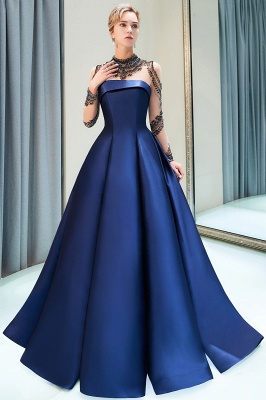 Beading Neckline A-line Long Sleeves Satin Evening Gowns_8
