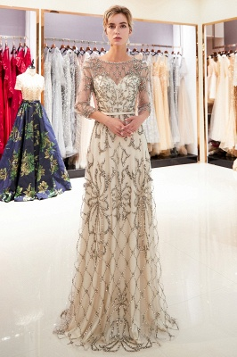 A-line Illusion Neckline Long Beading Evening Gowns with Sleeves_6